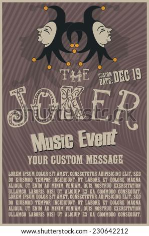 Joker head poster template - stock vector