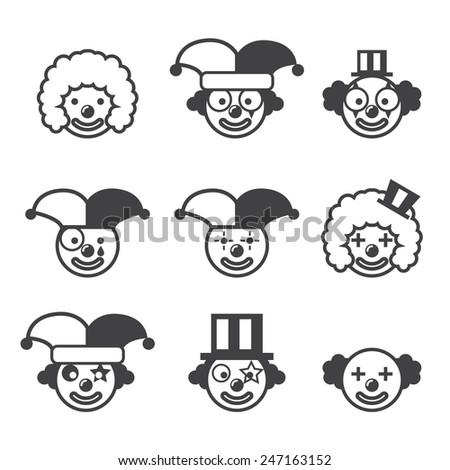 cartoon clown illustration outline vector stock images