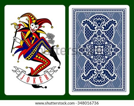Joker playing card and dark blue backside background. Original design. Vector illustration - stock vector