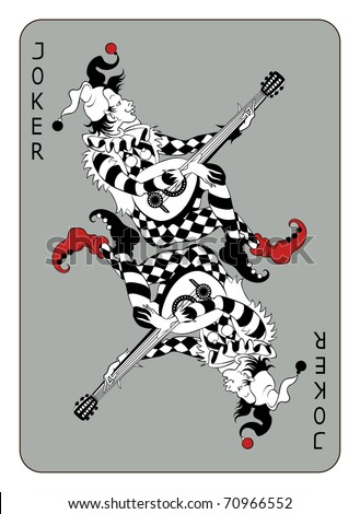 Joker playing card, isolated on white background - stock vector