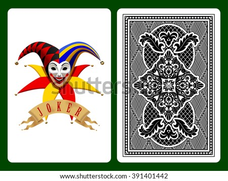 Joker playing card on black and backside background. Original design. Vector illustration - stock vector