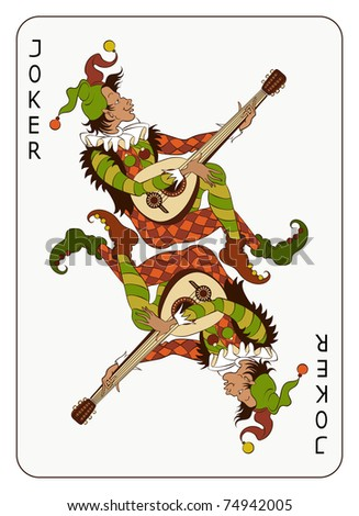Joker Playing Card. The vector art image is very well-organized in groups - stock vector