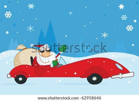 Jolly Christmas Santa Waving And Driving His Convertible Red Sports Car In The Snow - stock vector