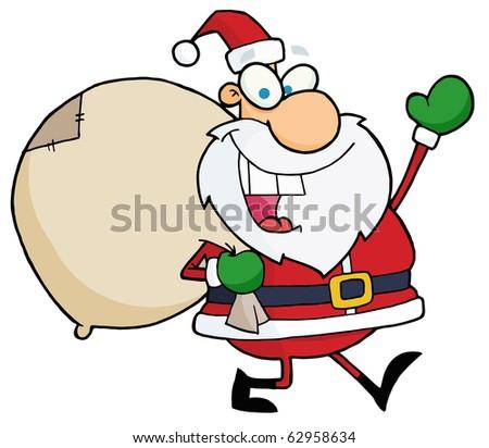 Jolly Christmas Santa Waving And Walking With His Toy Sack - stock vector