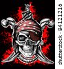 Jolly Roger, a pirate symbol with crossed daggers and a rope on the black and red background - stock photo