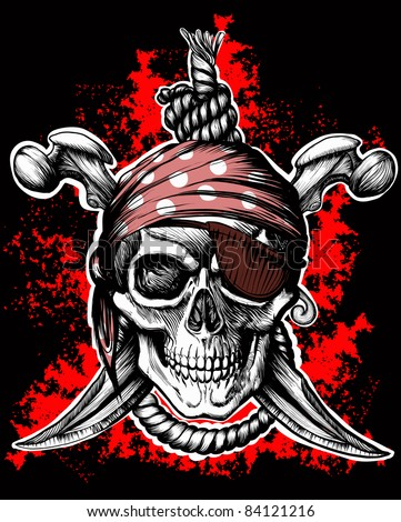 Jolly Roger, a pirate symbol with crossed daggers and a rope on the black and red background - stock vector