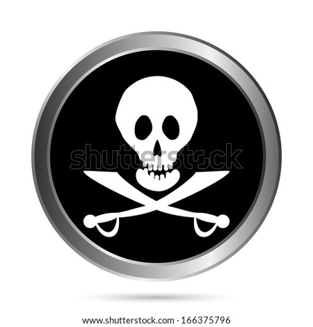 Jolly Roger flag button on a white background. Vector illustration.