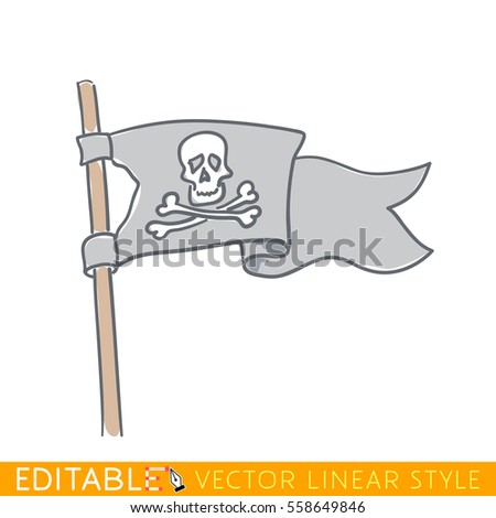 Jolly Roger flag. Editable line drawing. Stock vector illustration.