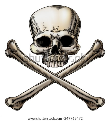 Jolly roger illustration of a skull above a pair of crossed bones - stock vector