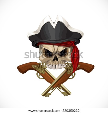 Jolly Roger in pirat hat and with pistols - stock vector