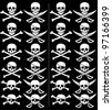 Jolly Roger: Jolly Roger in 24 different versions. Those on the right are with grunge effect. No transparency and gradients used. - stock vector