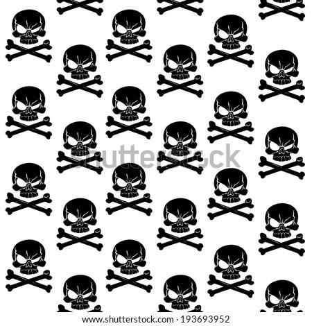 Jolly Roger on white seamless background - stock vector