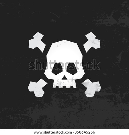 Jolly Roger Pirate Flag With Skull and Crossbones - stock vector