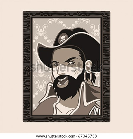 Jolly Roger pirate portrait in wood frame