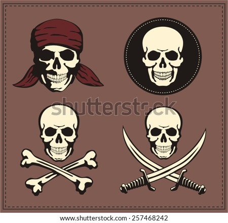 Jolly Roger Pirate symbol. Set pirate emblem for game. Skull, bones, swords. - stock vector