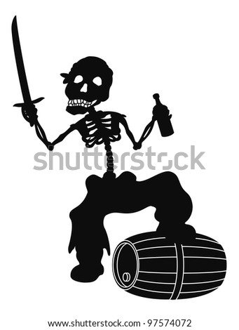 Jolly Roger, pirate - zombie skeleton with a saber, a bottle of wine and a barrel, black silhouette on white background. Vector - stock vector