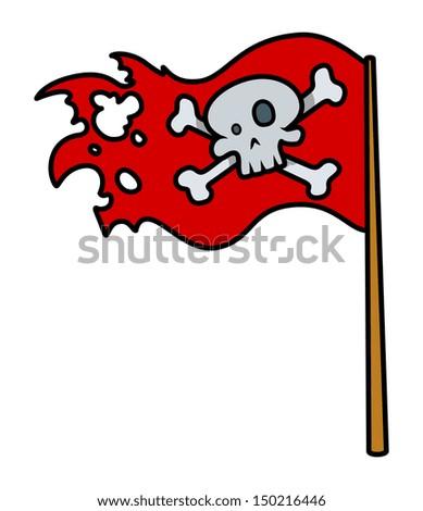 Jolly Roger Red Flag - Vector Cartoon Illustration - stock vector