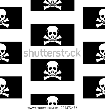 Jolly Roger seamless pattern on white background. Vector illustration. - stock vector