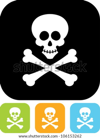 Jolly Roger. Skull and bones pirate emblem - Vector icon isolated - stock vector