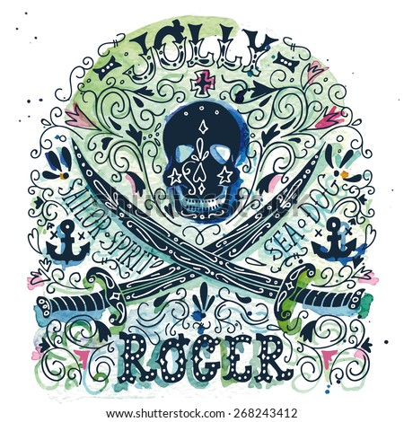 Jolly Roger. Watercolor vintage print with a pirate skull and two swords. The watercolor and ink drawings are two different layers. - stock vector