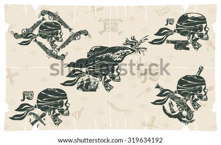 Jolly Rogers head in a scarf, vector