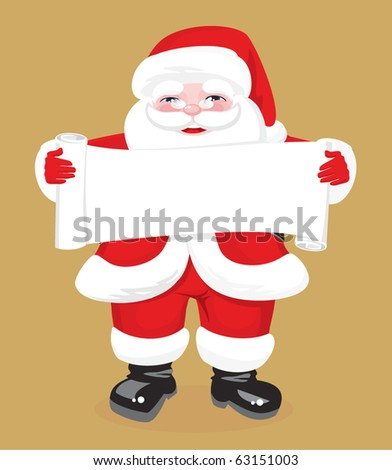 jolly Santa Claus in full growth keeps expanding the roll of paper - stock vector