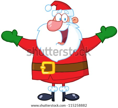 Jolly Santa Claus With Open Arms. Vector Illustration - stock vector