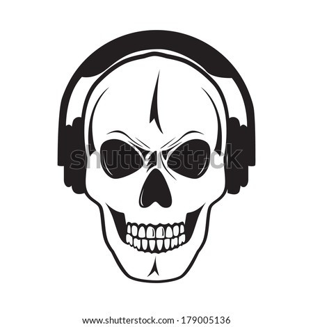 Jolly skull with headphones. Isolated object. - stock vector