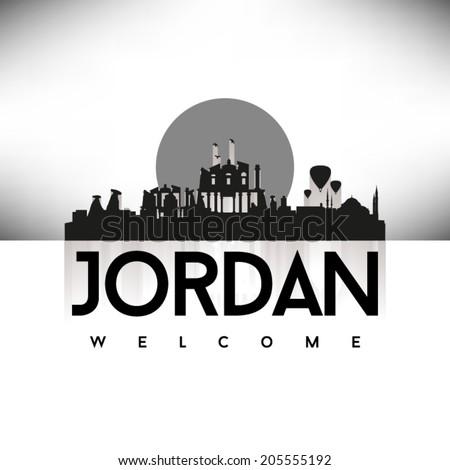 Jordan black skyline silhouette design, vector illustration. - stock vector