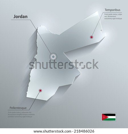 Jordan map flag glass card paper 3D vector - stock vector