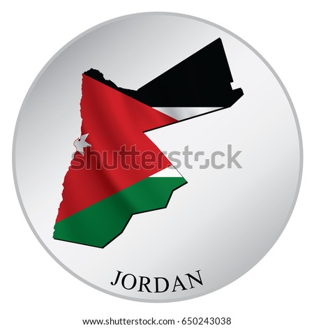 Jordan vector sticker with flag and map label round tag with country name