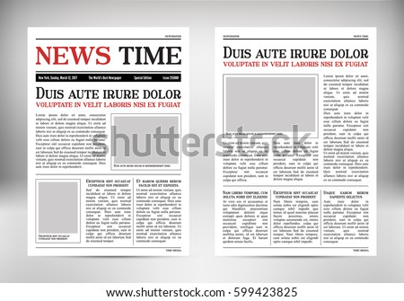 journal template old paper tabloid on stock vector 599423825