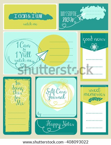 Journaling Cards with Inspirational Quotes - stock vector