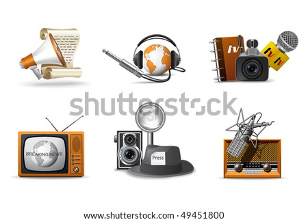 Journalism and press icons - stock vector