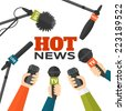 Journalism concept vector illustration in flat style. Set of hands holding microphones and voice recorders. Hot news template. Press illustration - stock photo