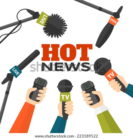 Journalism concept vector illustration in flat style. Set of hands holding microphones and voice recorders. Hot news template. Press illustration - stock vector