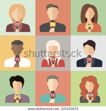 Journalism concept vector - journalists, reporters holding microphones.  Live news template. Live broadcast, world news - stock vector