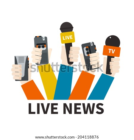 Journalism concept vector - set of hands holding microphones and voice recorders. Live news template. Press illustration. - stock vector