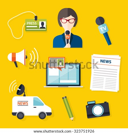 Journalism press news reporter. Set of vector journalism icons in flat design style spokesperson, interview, microphone, tv etc, newspaper. Modern flat concept. - stock vector
