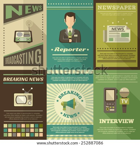 Journalist interview newspaper news broadcasting mini poster set isolated vector illustration - stock vector