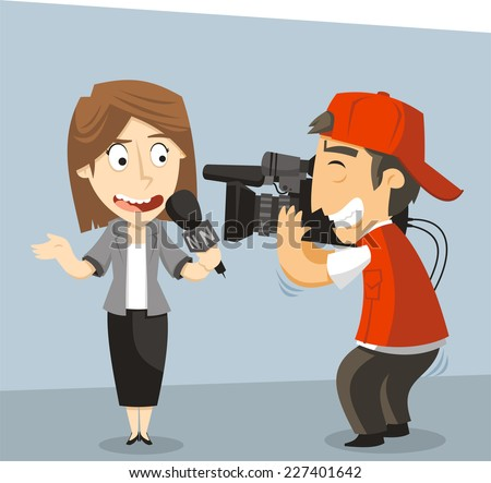 Journalist News Reporter Interview, with journalist and interviewee. Vector illustration cartoon. - stock vector