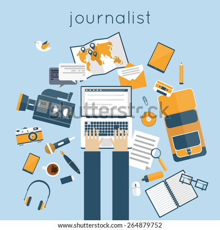 Journalist, paparazzi profession. Journalist workspace with tools and devices. Office workspace. Live broadcast, photo, camera, interview, map, microphone, operator. Flat vector illustration. - stock vector