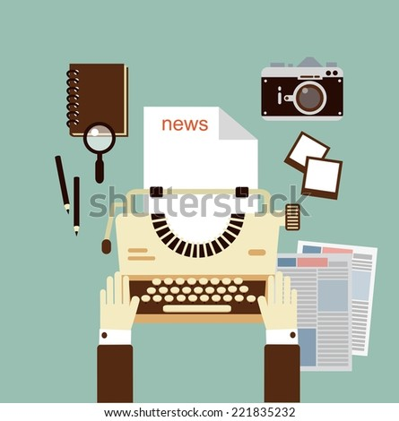 journalist publishes news on a typewriter   illustration - stock vector