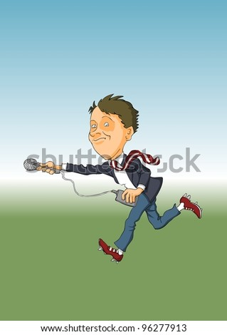 Journalist with a microphone runs on reports - stock vector