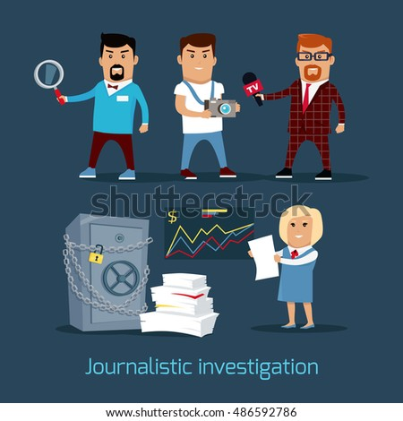 journalistic investigation concept vector flat design financial crime tax evasion money laundering financial investigator