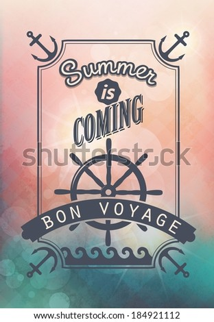journey by sea / vintage calligraphic text on blurred background - stock vector