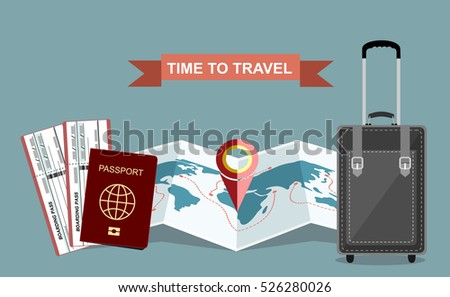 Journey concept. Baggage for holiday tour design, adventure object map and pin isolated. Vector illustration
