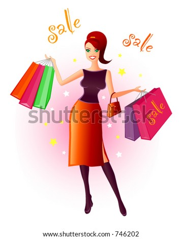 Joy Of Shopping - Vector illustration of a very happy, young woman with shopping bags in her hands after a bargain sale. Colours and words can be changed and edited easily in this vector file. - stock vector