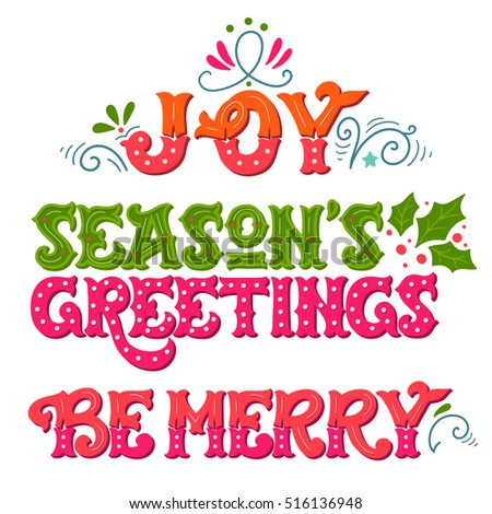 Joy seasons greetings be merry collection stock vector 516136948 seasons greetings be merry collection of hand drawn winter holiday sayings m4hsunfo
