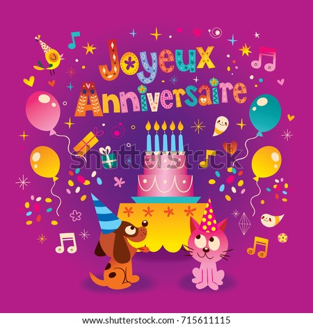 Joyeux Anniversaire Happy Birthday French Kids Stock Vector Royalty